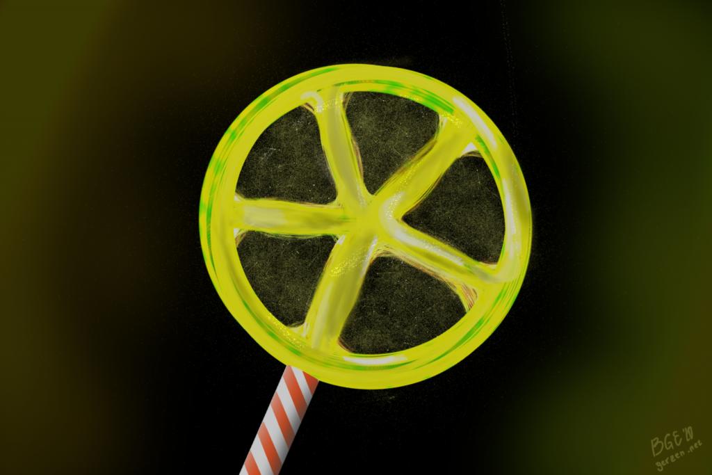 Digitalzeichnung eines gelben Lollis auf schwarzem Hintergrund