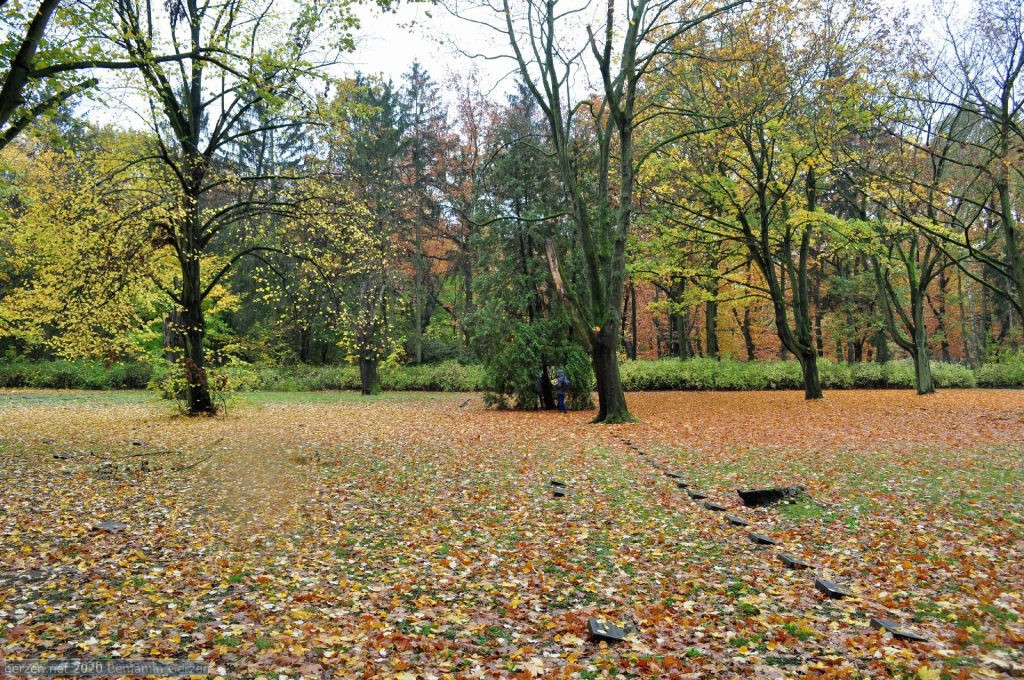 Soldier graves in garden cemetery Marzahn in autumn
