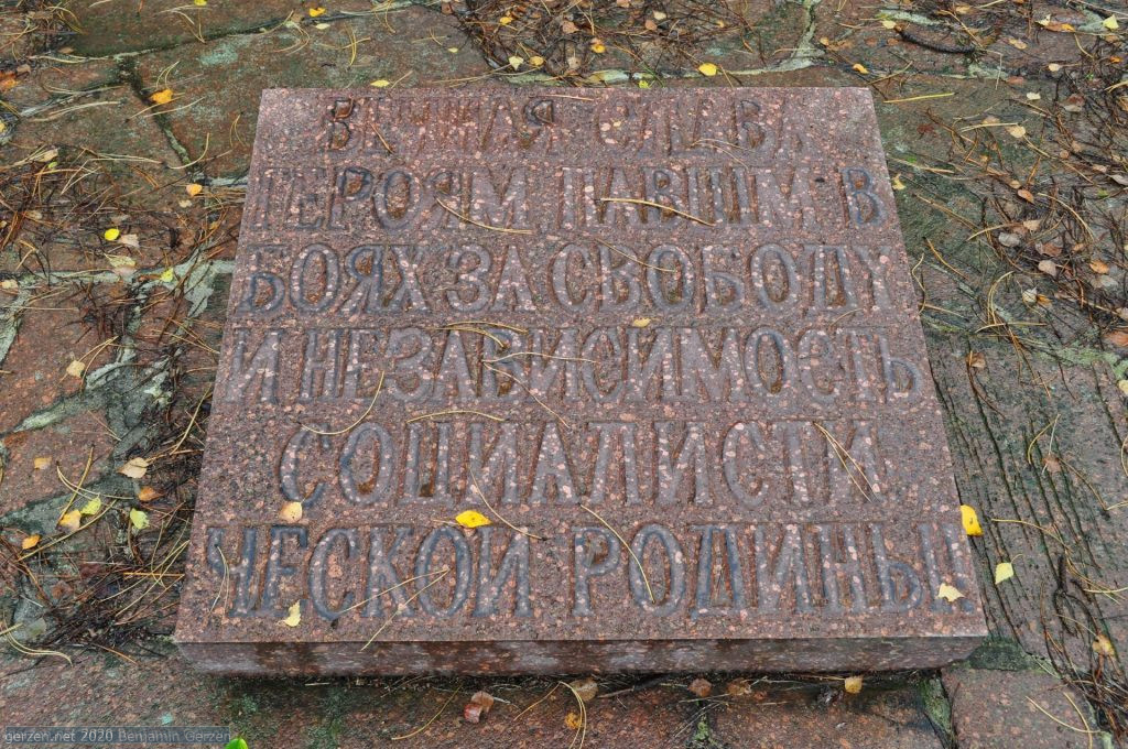 Memorial board with Russian Text, rural cemetery Marzahn